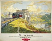 Britania Bridge Vintage Railways Poster Print, Irish Mail Train, British Railways